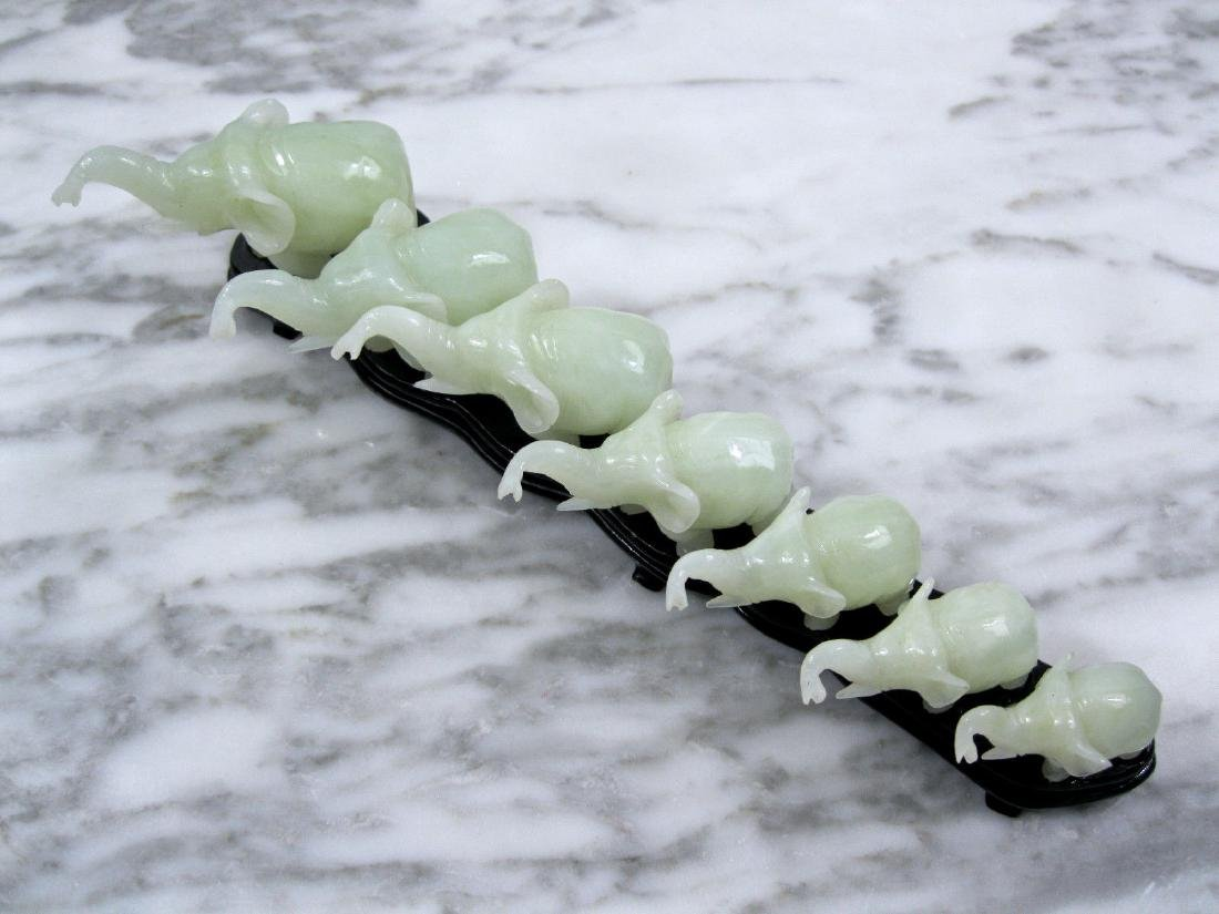 Republic Chinese Carved Celadon Nephrite Jade Elephants