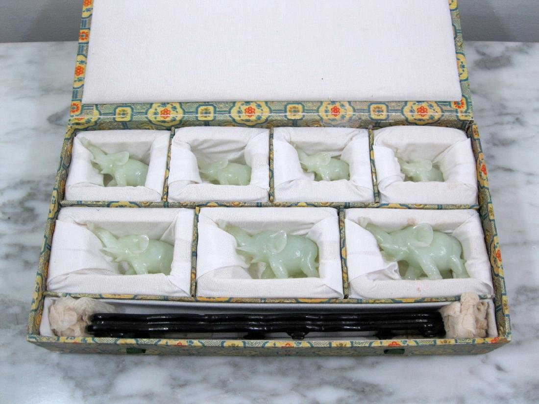 Republic Chinese Carved Celadon Nephrite Jade Elephants - 7