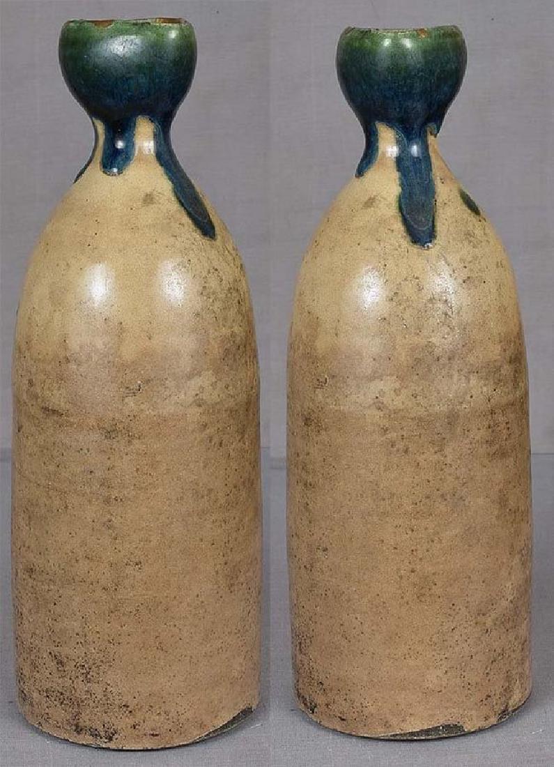 Japanese Tokkuri Sake Bottle Oribe, 19th C - 2