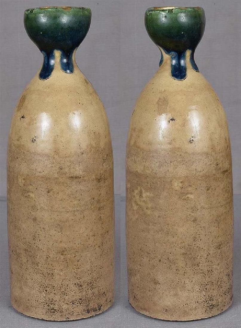 Japanese Tokkuri Sake Bottle Oribe, 19th C - 3