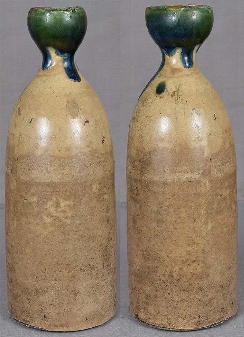 Japanese Tokkuri Sake Bottle Oribe, 19th C - 4