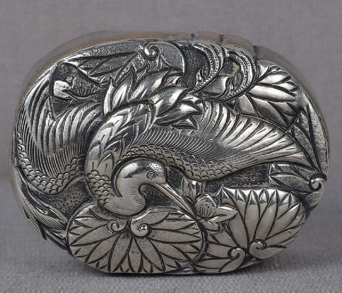 Japanese Box Silver Crane & Water Lilies, 19th C