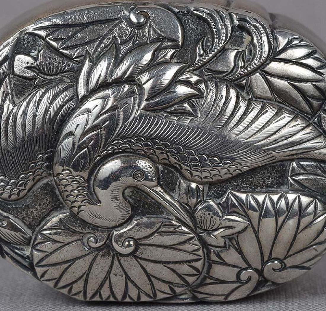 Japanese Box Silver Crane & Water Lilies, 19th C - 5