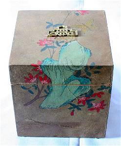 Korean Antique Box with Flowers, Rocks, Butterfly