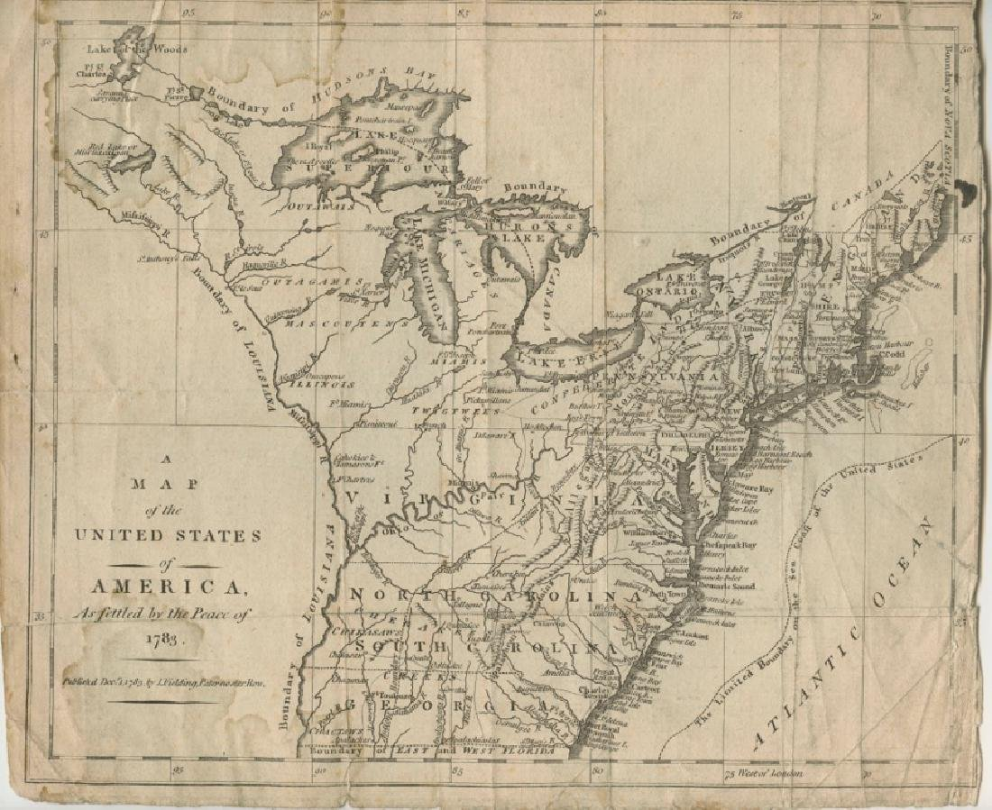 Map of United States of America, Peace of 1783