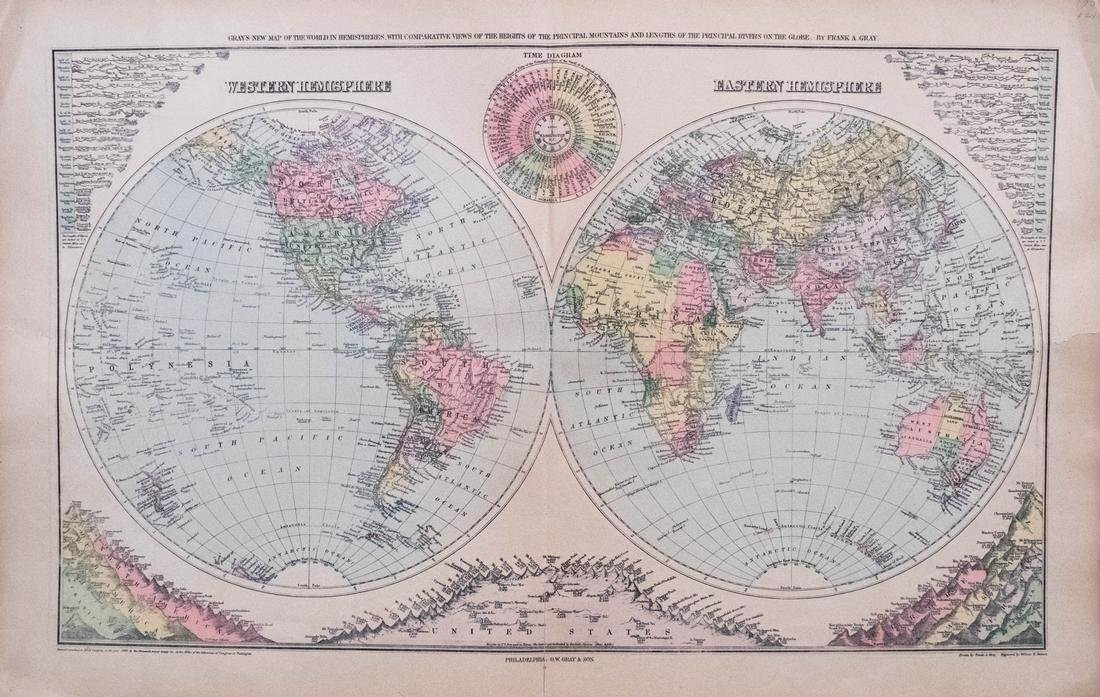Gray Double Hemisphere World Map,1879