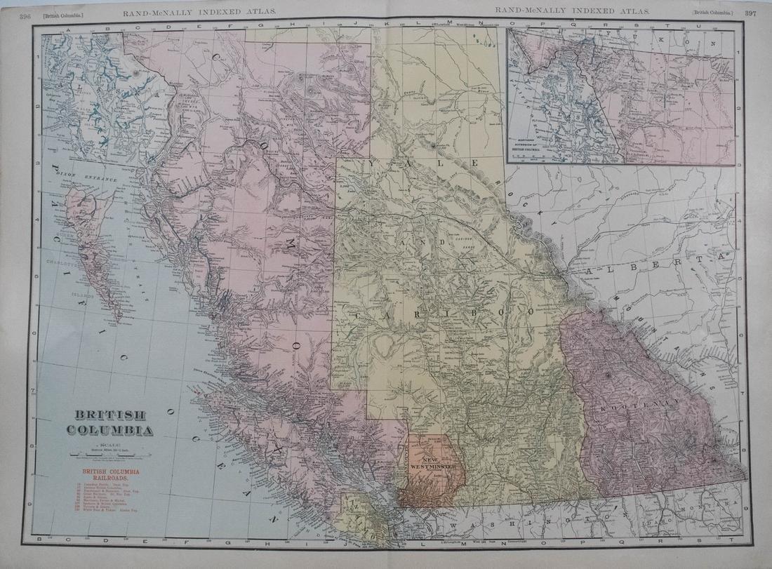 Rand McNally Map of British Columbia, 1911