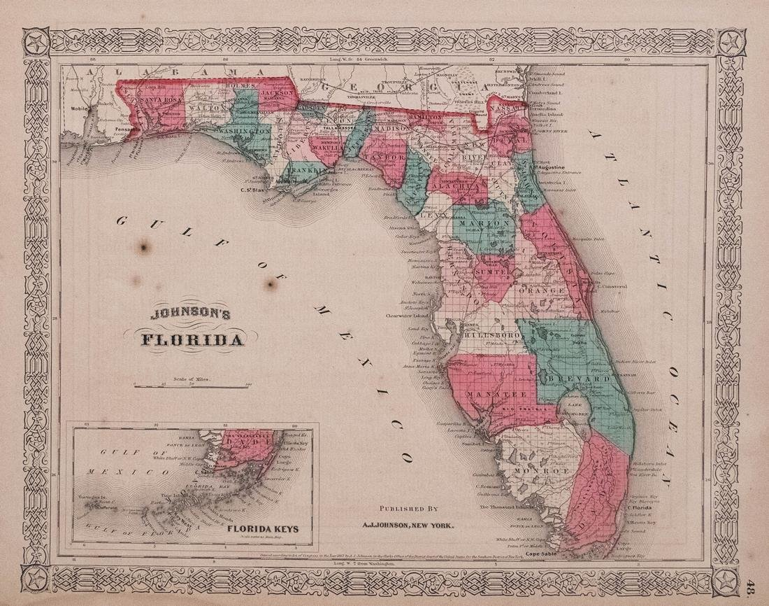 Johnson Map of Florida, 1863