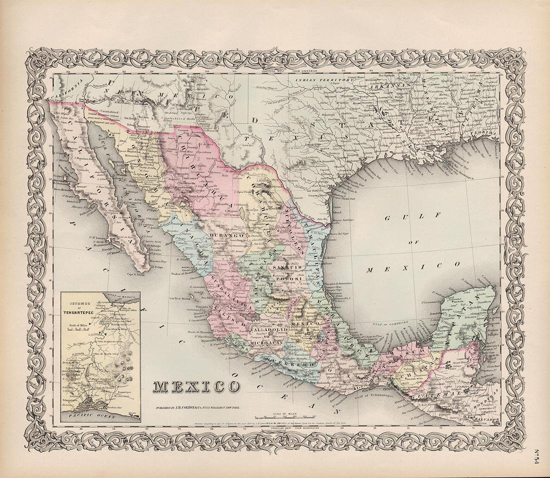 J. H. Colton: Map of Mexico & Texas, 1854.