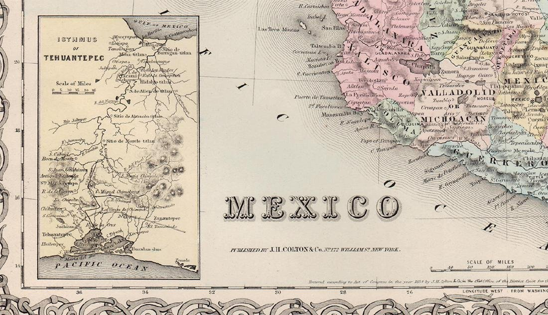 J. H. Colton: Map of Mexico & Texas, 1854. - 2