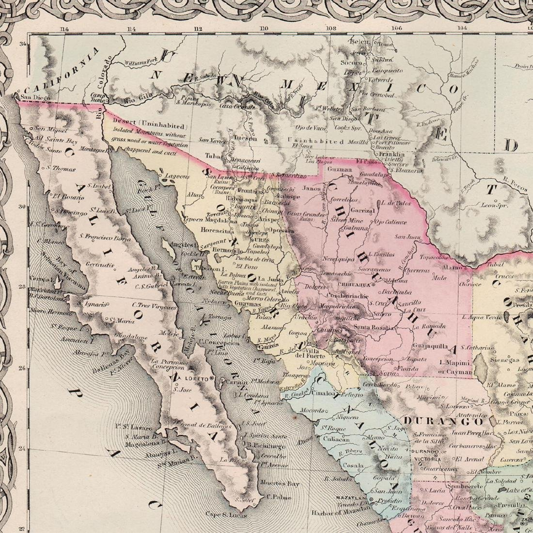 J. H. Colton: Map of Mexico & Texas, 1854. - 4