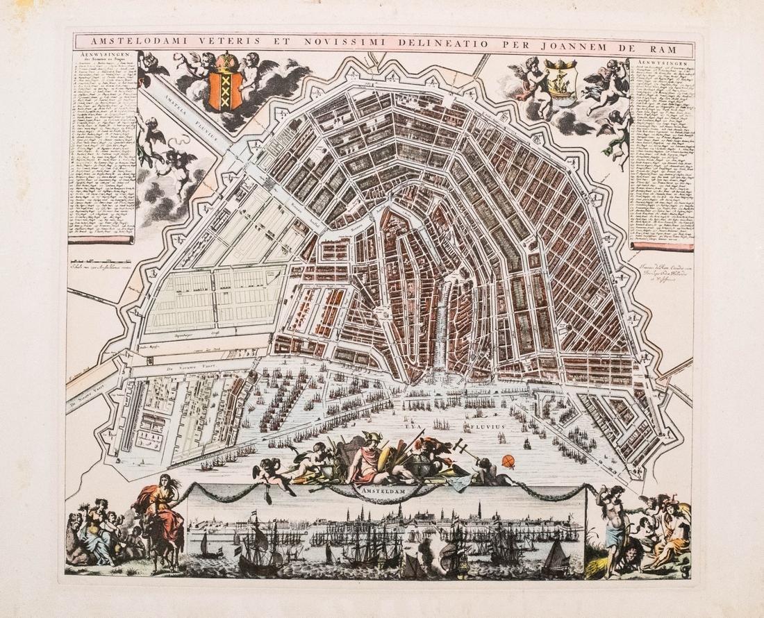 de Ram Map of Amsterdam Lithograph, 1682