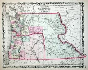Johnson's Map of Washington and Oregon, 1861