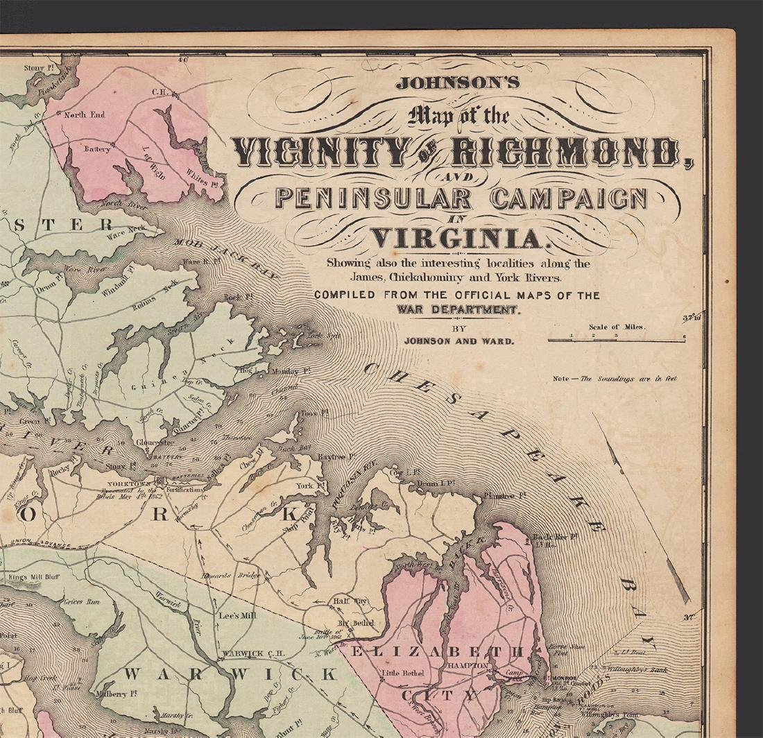 Johnson's Map of the Vicinity of Richmond, 1862 - 2