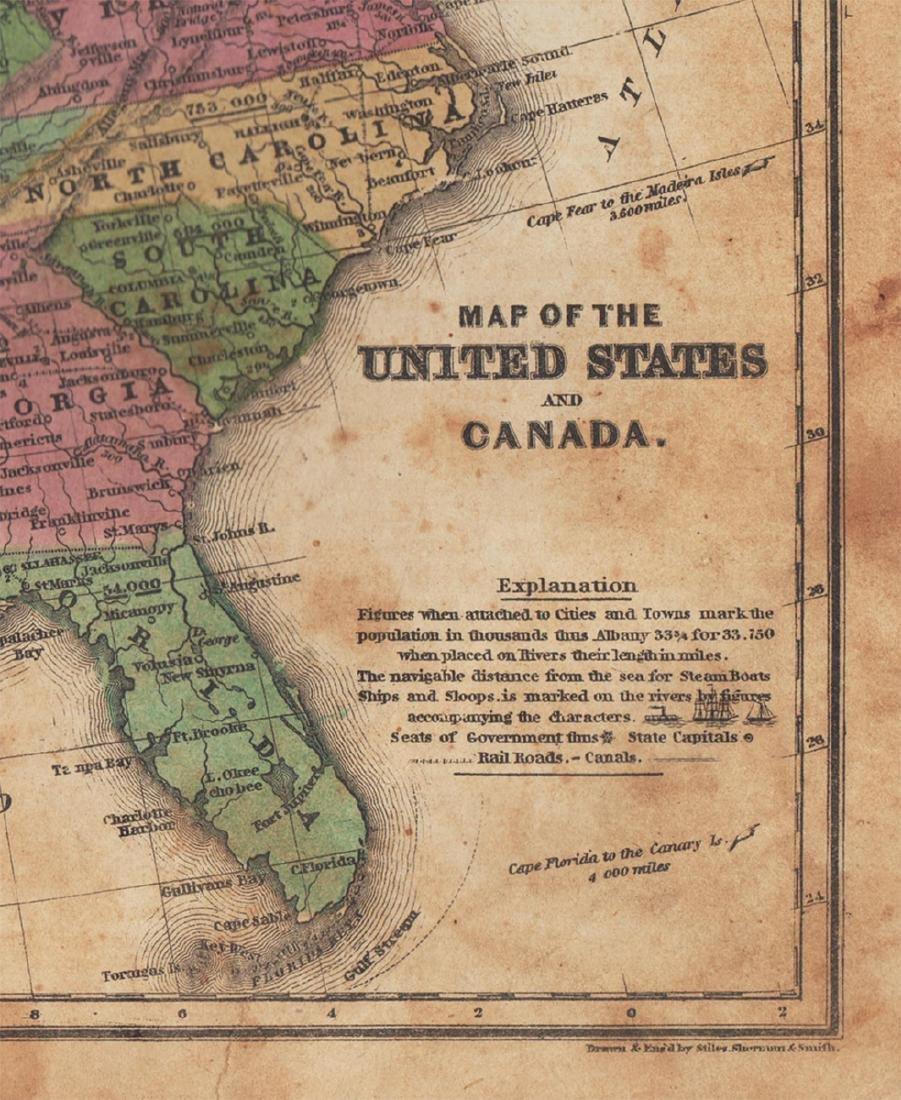 Daniel Burgess: Map of United States & Canada, 1846 - 2