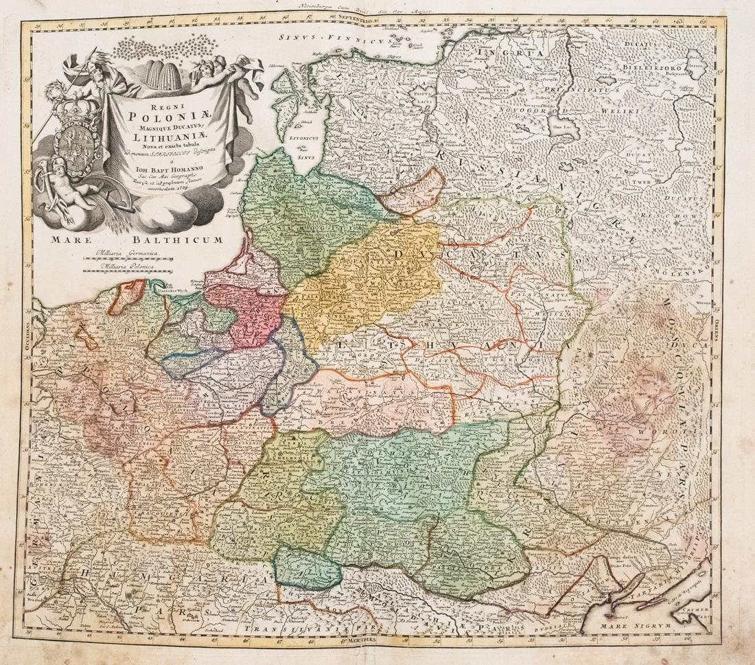 Homann Map of Poland and the Baltic States, 1739