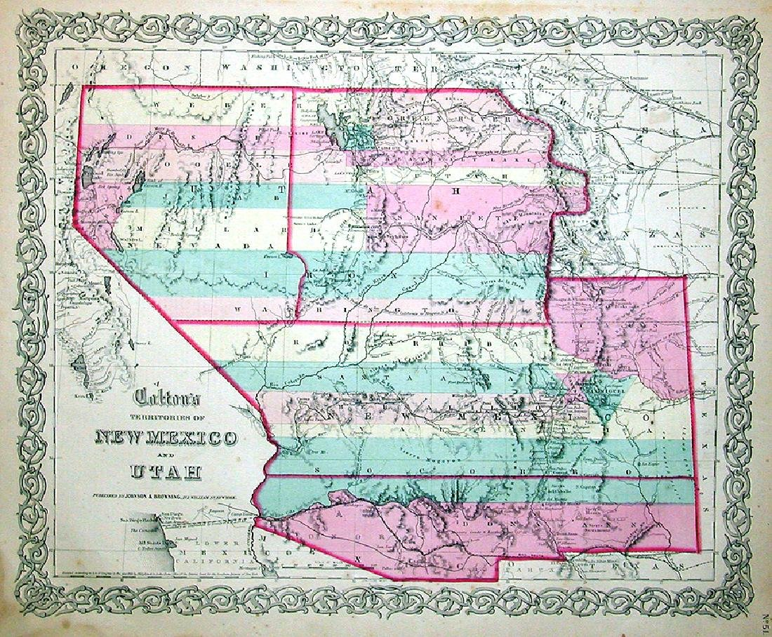 Colton's Territories of New Mexico & Utah