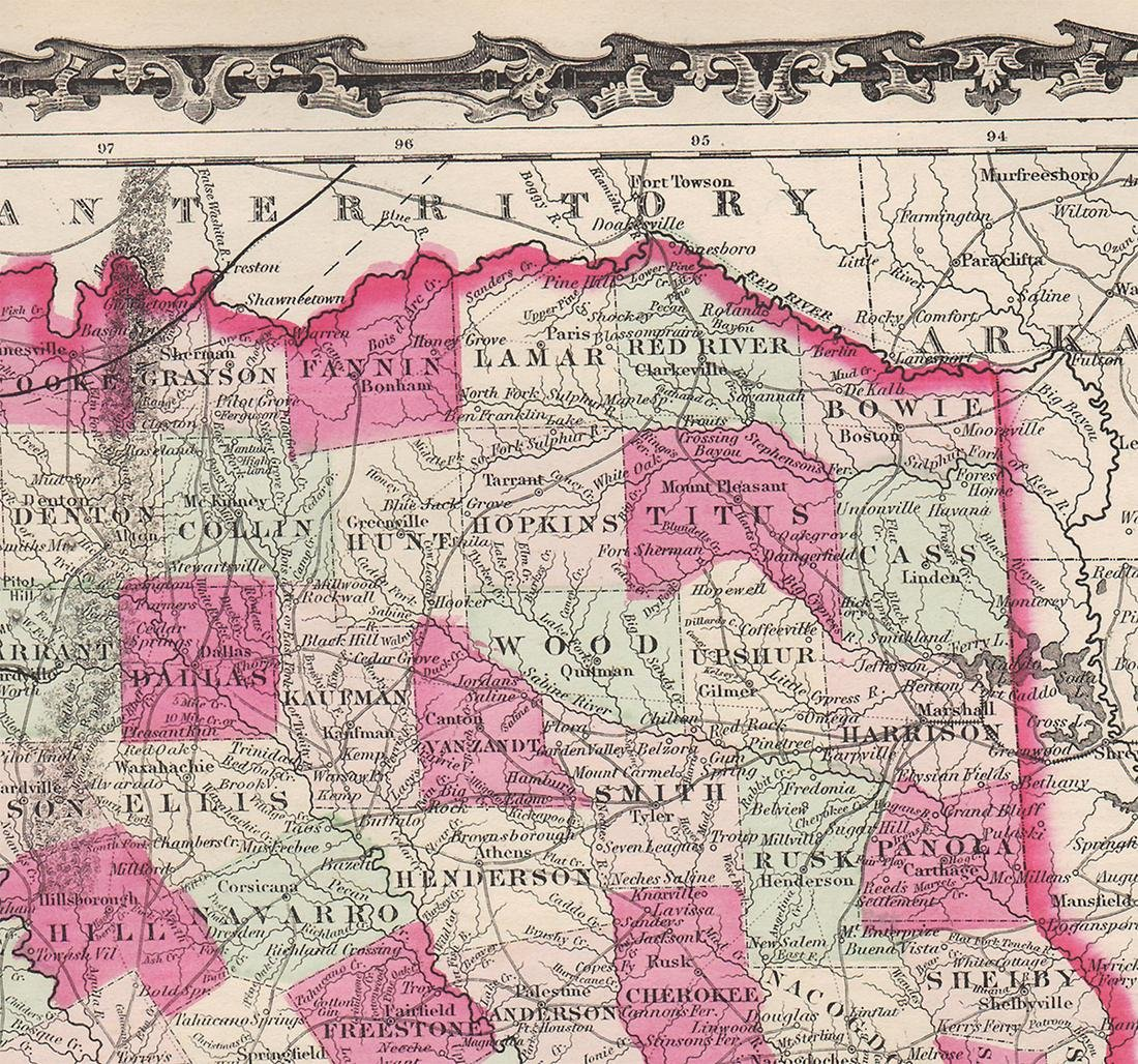 Johnson's New Map of the State of Texas, 1863 - 6