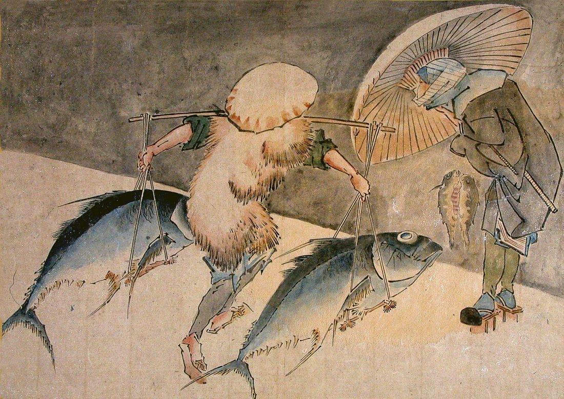 Attributed Totoya Hokkei: Fishmongers in the Rain