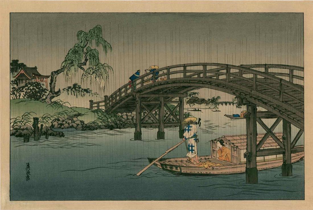 Eisen Keisai: Ferry Boat Beneath a Bridge