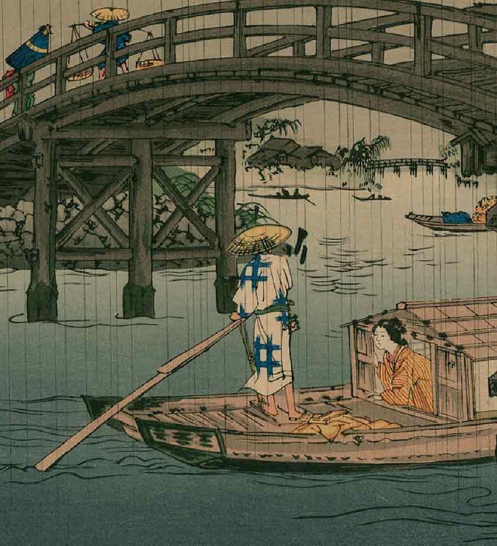 Eisen Keisai: Ferry Boat Beneath a Bridge - 2