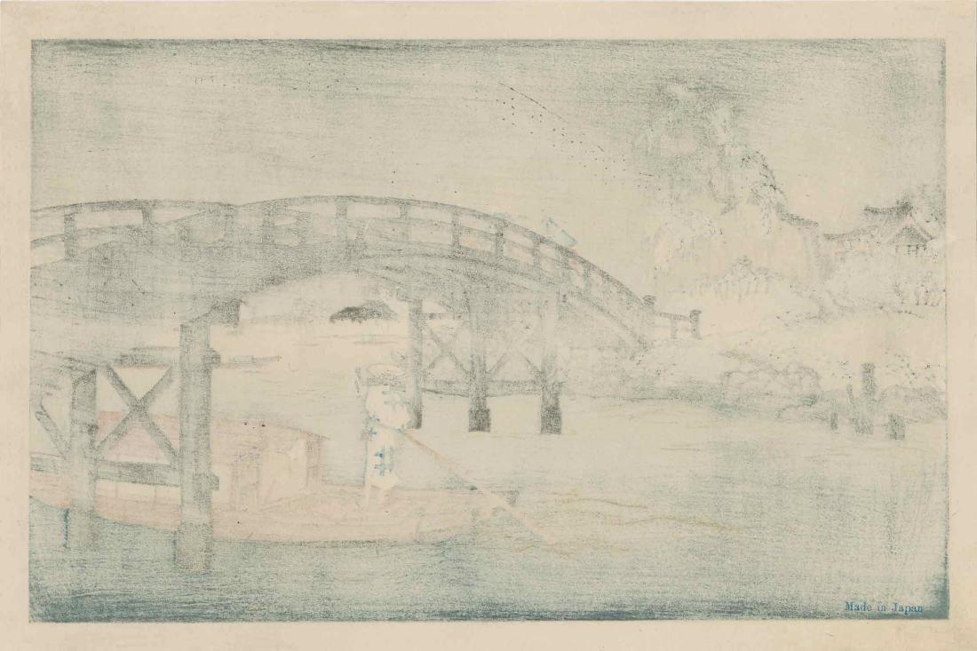 Eisen Keisai: Ferry Boat Beneath a Bridge - 3
