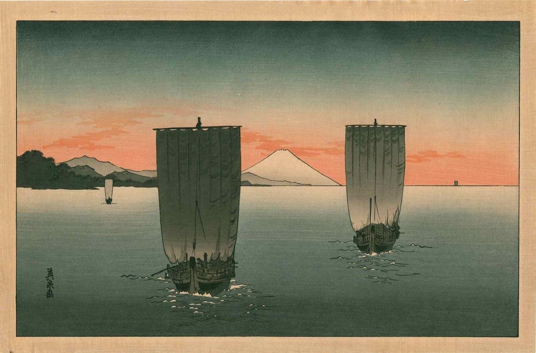 Eisen Keisai: Fishing Boats Off Mt. Fuji