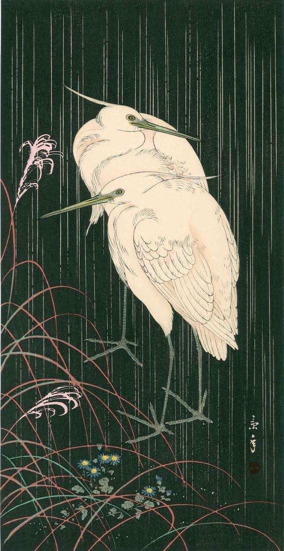 Keinen Imao: Two Egrets on a Rainy Night