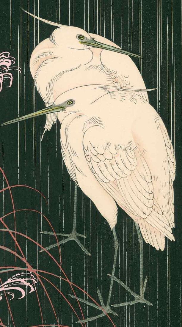 Keinen Imao: Two Egrets on a Rainy Night - 2