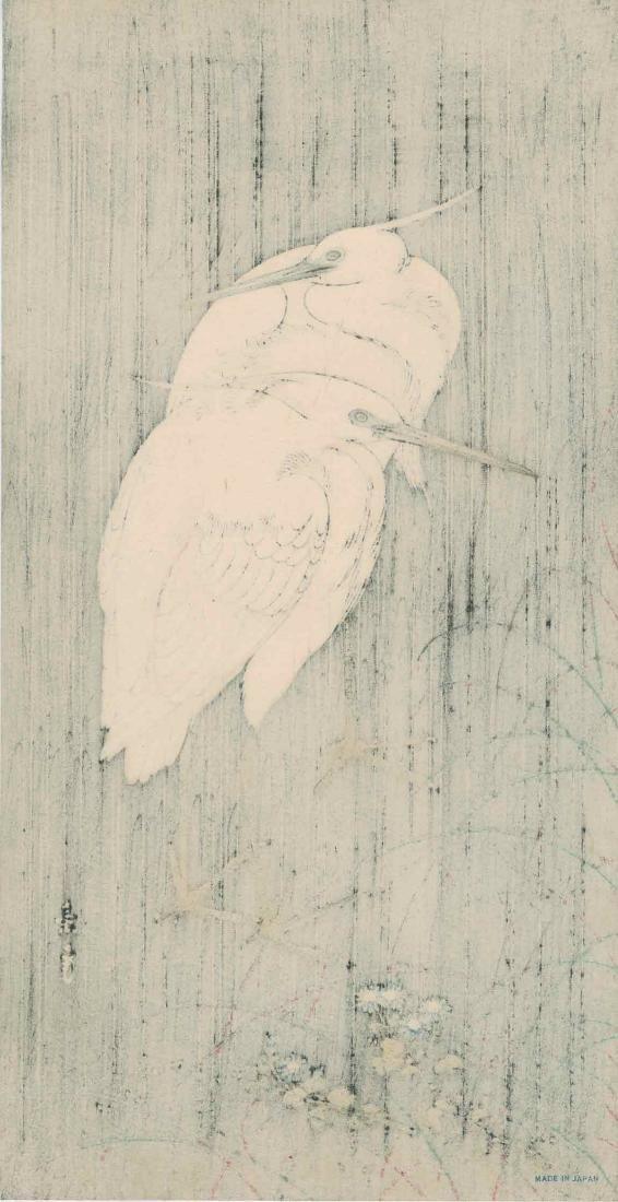 Keinen Imao: Two Egrets on a Rainy Night - 3
