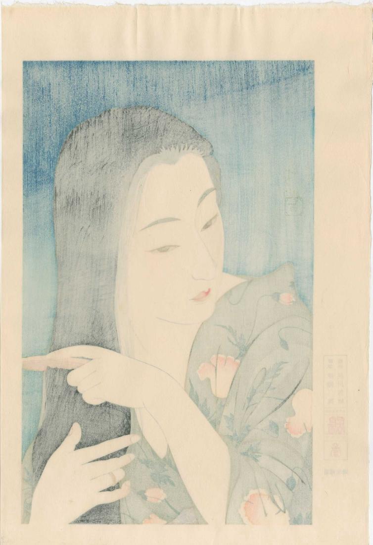 Kotondo Torii: Beauty Combing Her Hair - 3