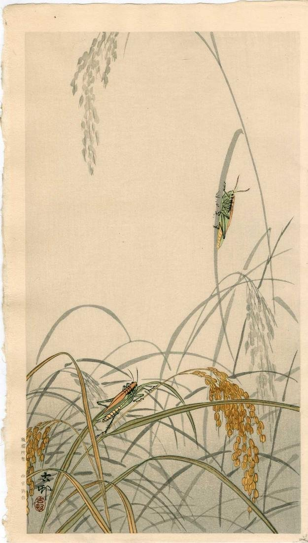 Ohara Koson: Grasshoppers on Wheat Stalks