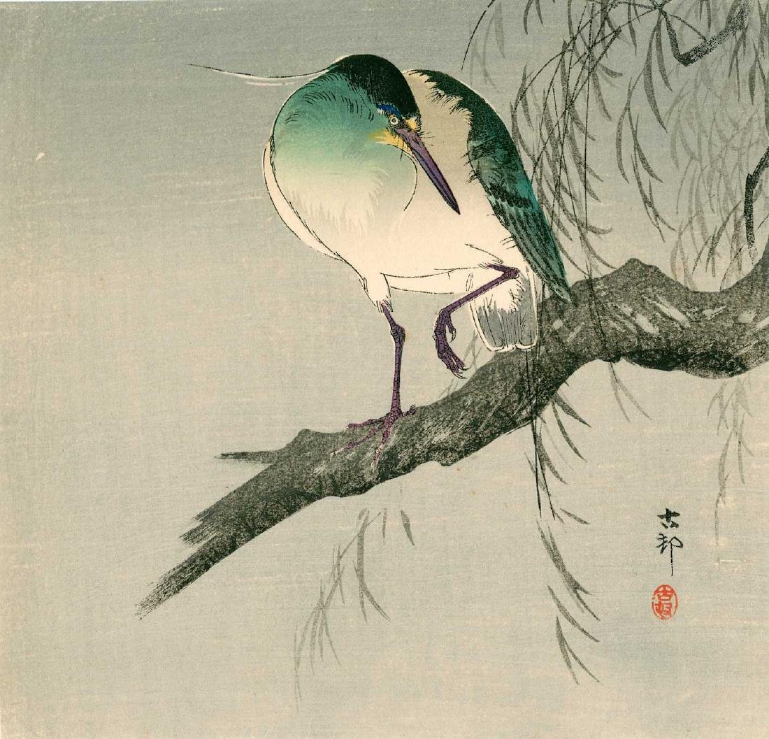 Ohara Koson: Night Heron in a Willow Tree