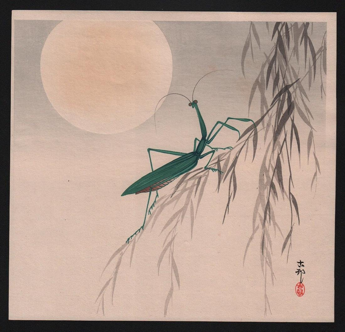 Ohara Koson: Praying Mantis before Full Moon