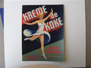 """""""Kreme de Koke"""" Original Crate Label"""