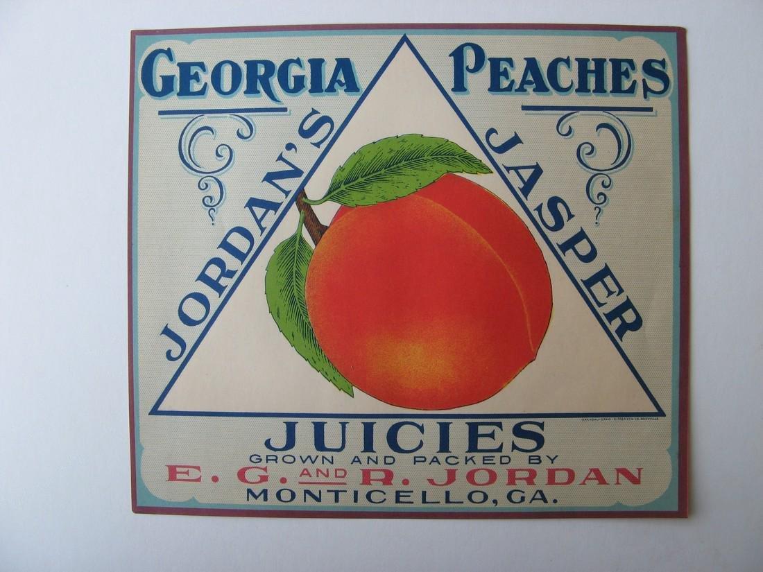"""""""Jordan's Georgia Peaches"""" Original Crate Label"""