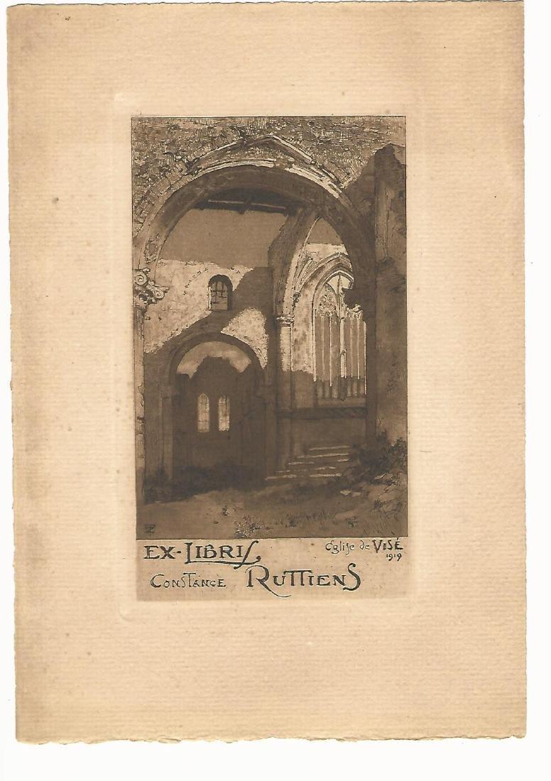 "1919 Engraved ""Ex-Libris Ruttiens"""