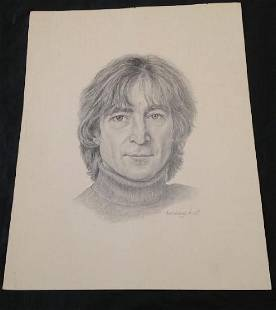 Pencil Drawing of John Lennon by Barbara Holt