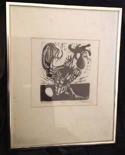 Framed Rooster Etching