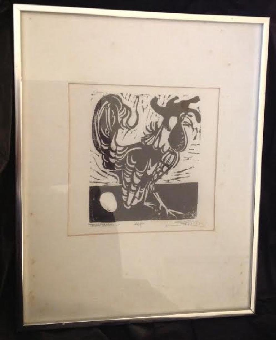 Framed Rooster Etching