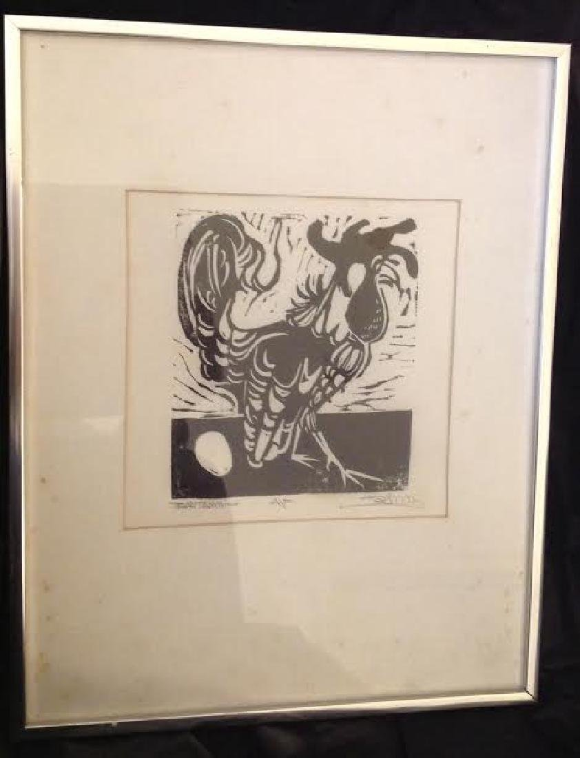 Framed Rooster Etching - 2