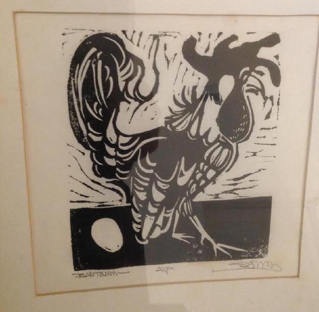 Framed Rooster Etching - 3