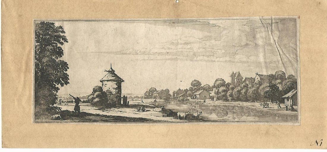 Antonie Waterloo (1609-1690) Etching  of a Landscape