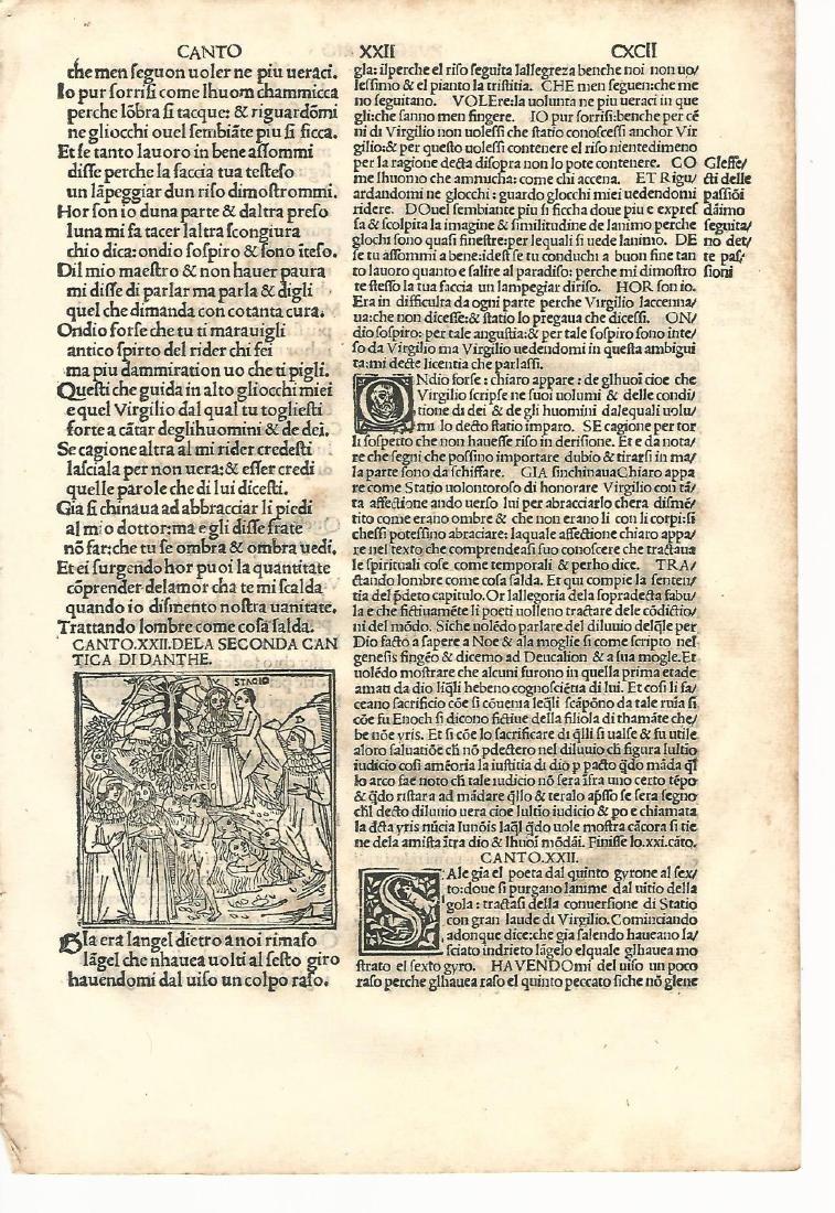 1507 Leaf Dante Purgatorio w/ Woodcut