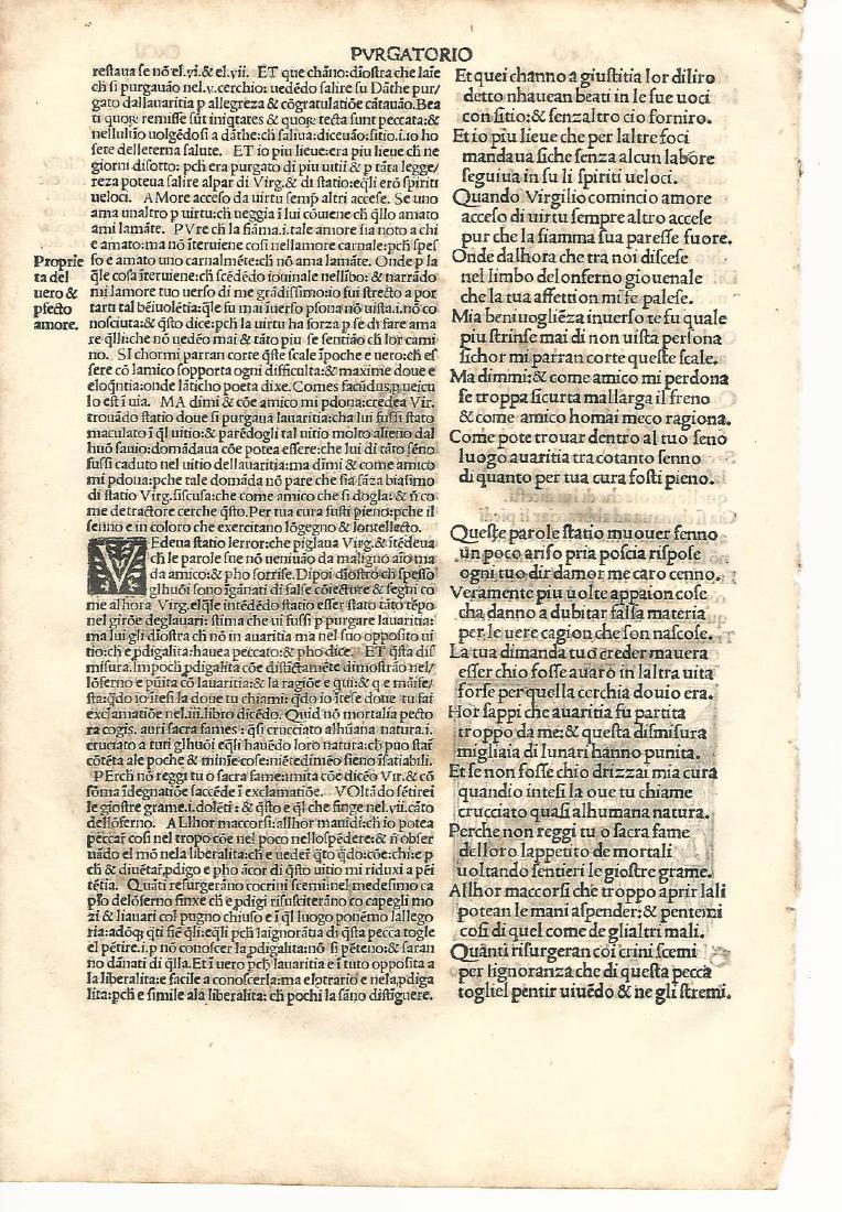 1507 Leaf Dante Purgatorio w/ Woodcut - 3
