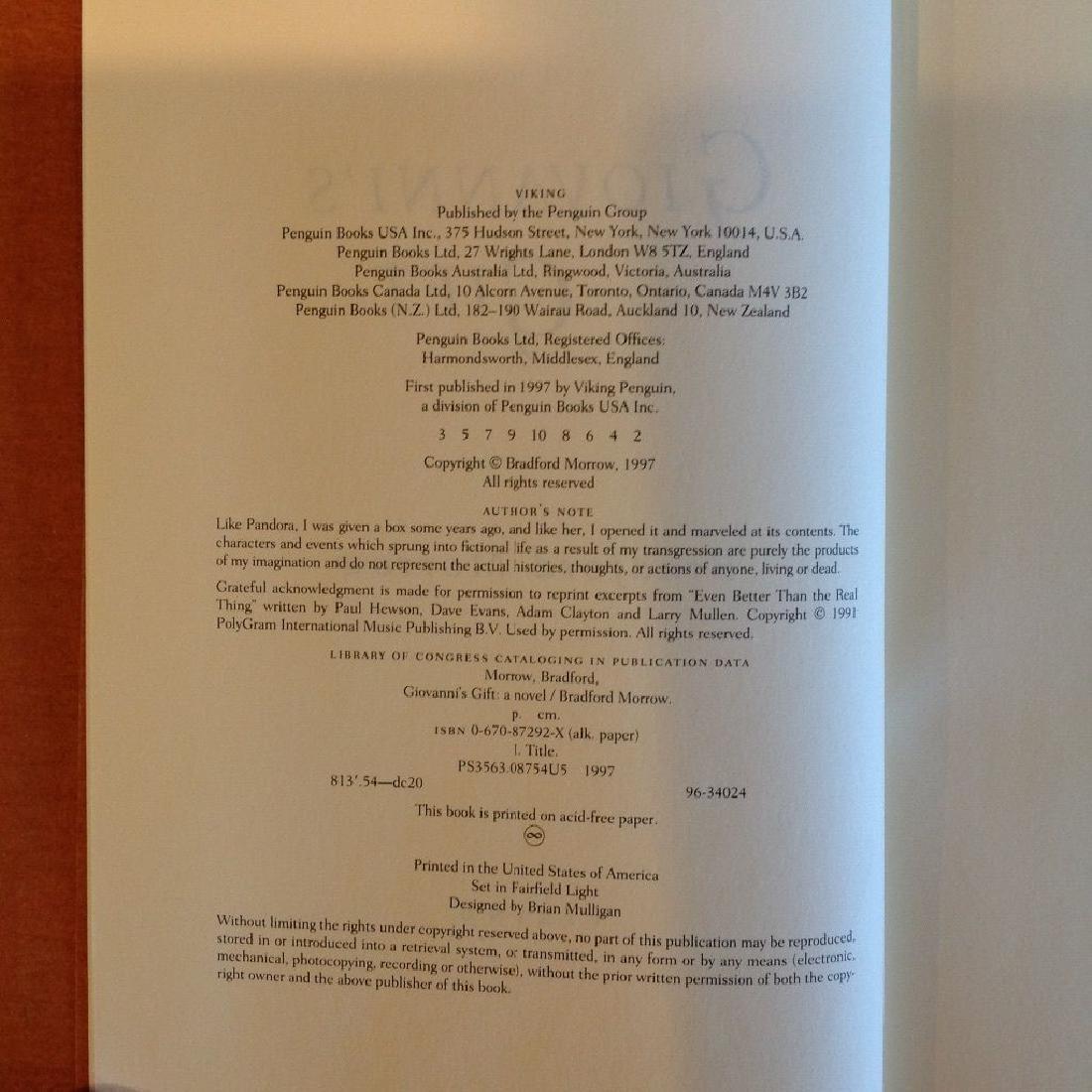 Bradford Morrow: Giovanni's Gift, 1997 - Signed - 5