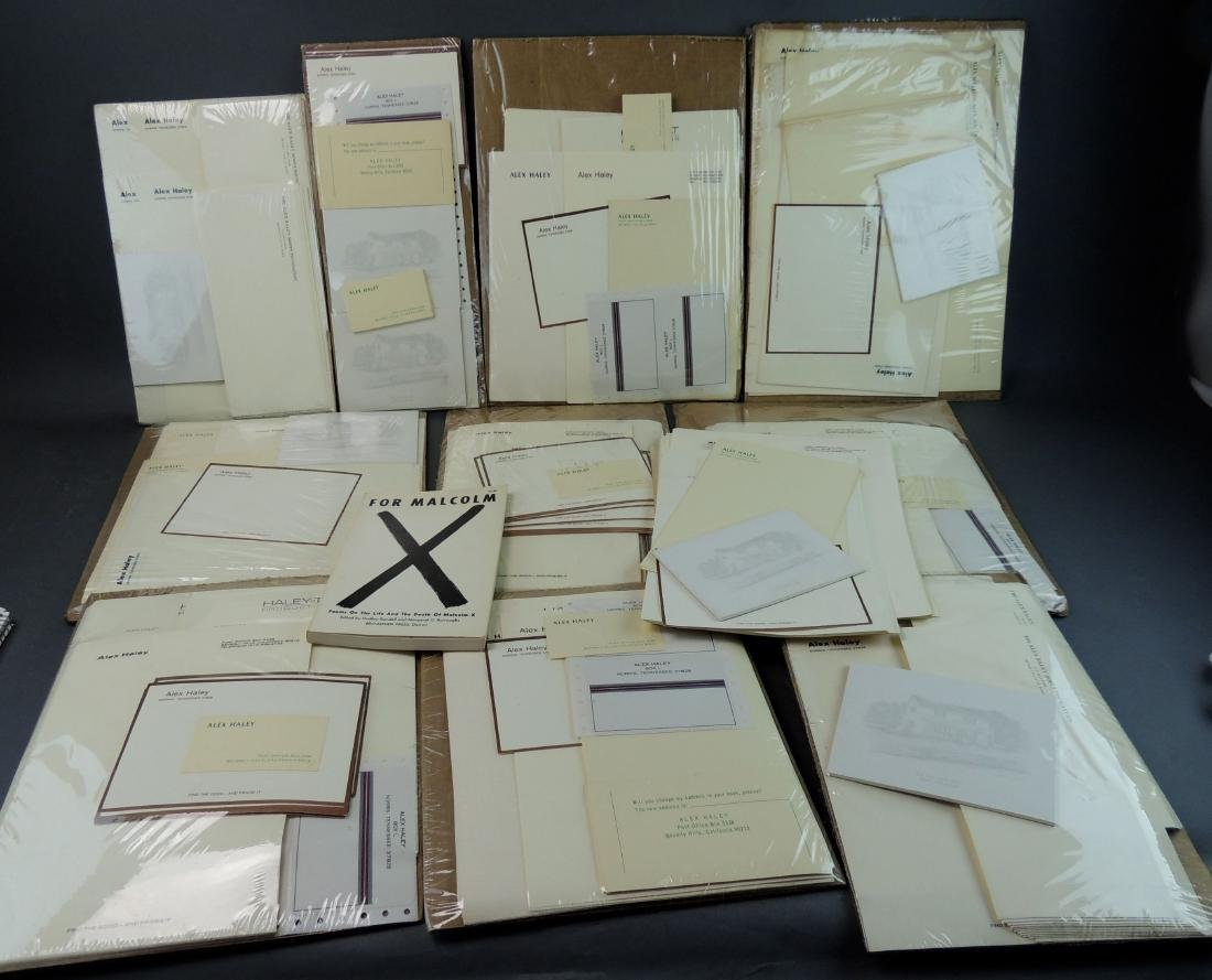 Alex Haley Unused Stationery & Signed Malcom X Book