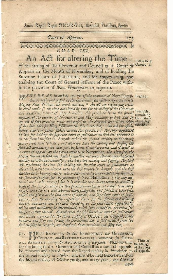 1771 Colonial Act Judiciary Court of Appeals