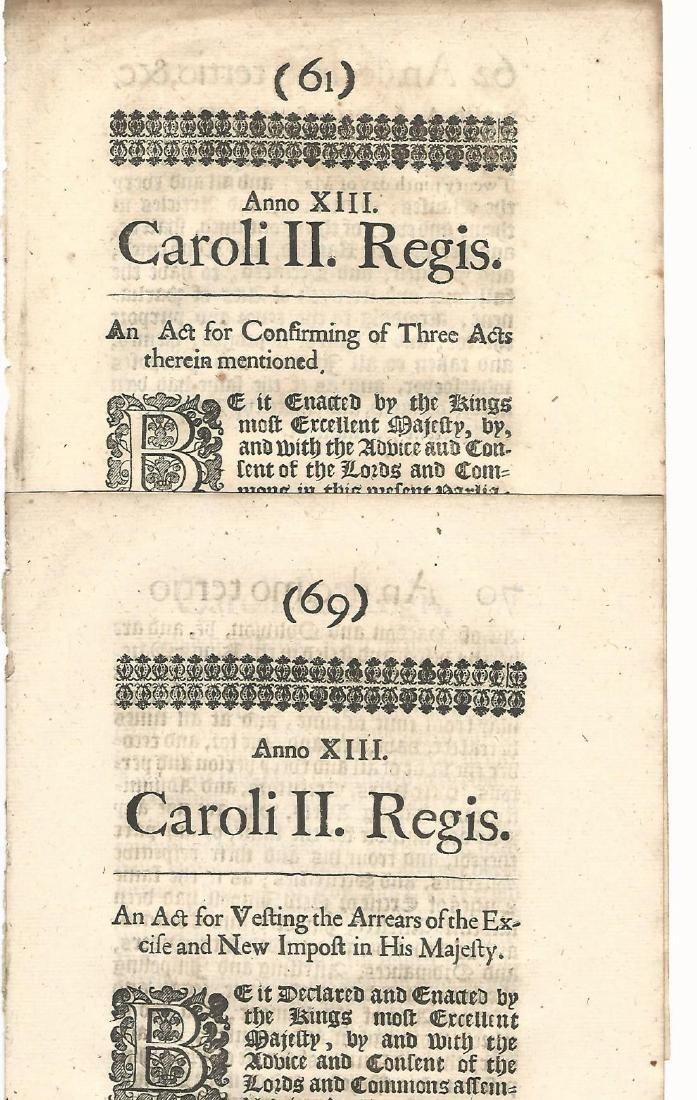 1662 Three Acts Reign of Charles II Black Letter