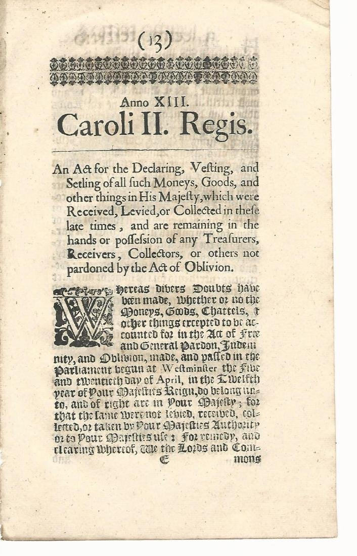 1662 Three Acts Reign of Charles II Black Letter - 2